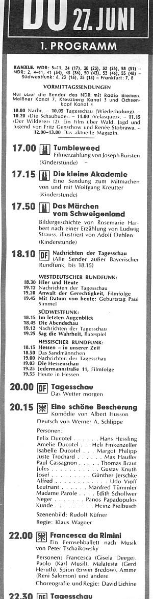 Fernsehprogramm 1970